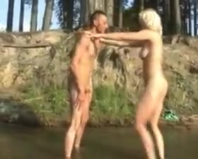 Ballbusting in the woods hard black gay cock