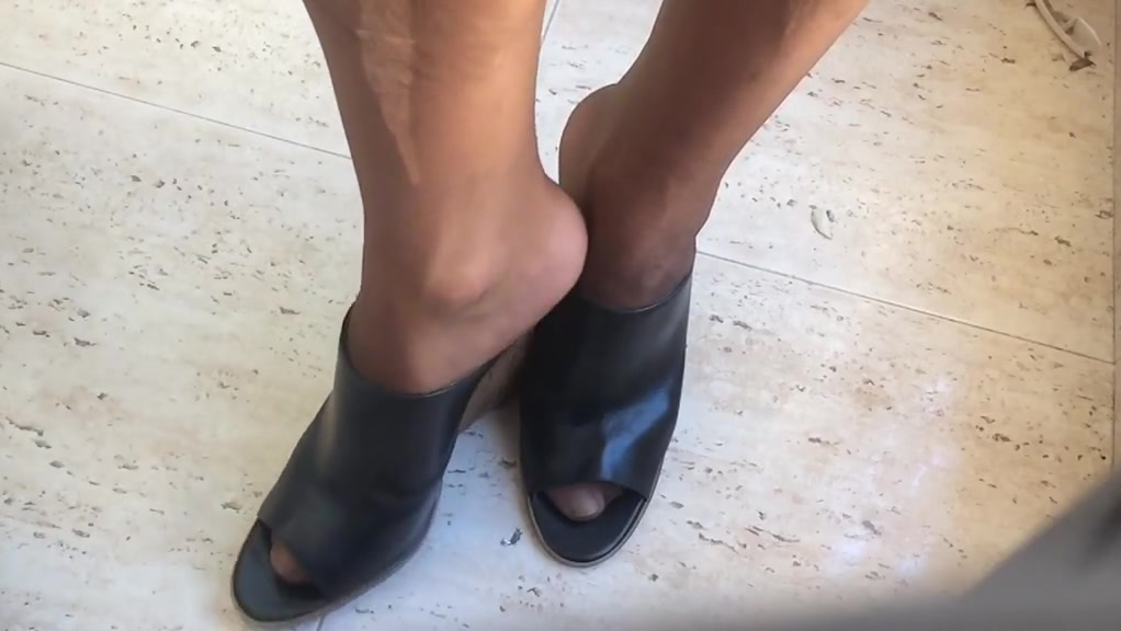 Wedges and nylon Ebony black xxx videos