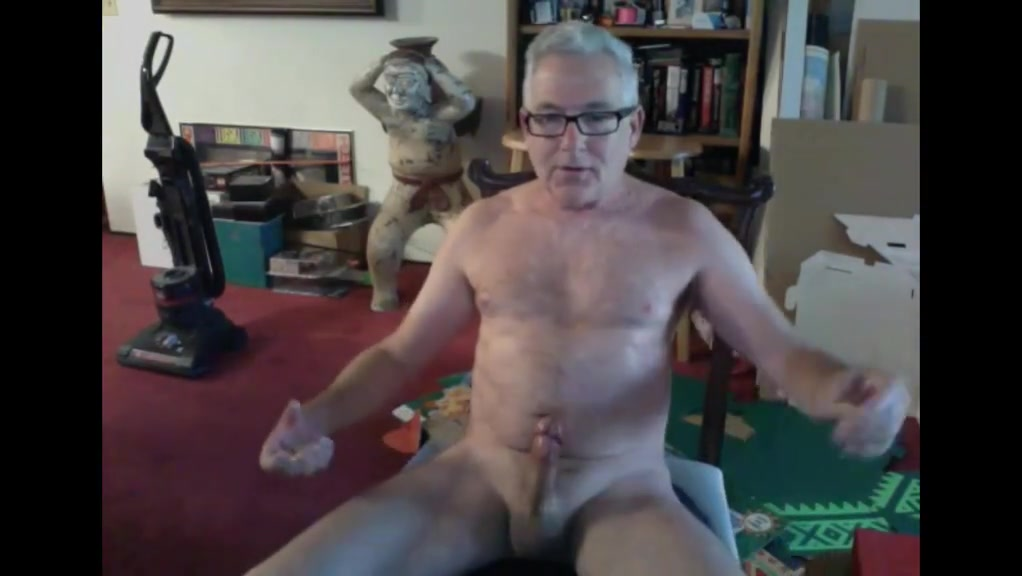 Mature dad with glasses empties his balls Hairy Mature Cum