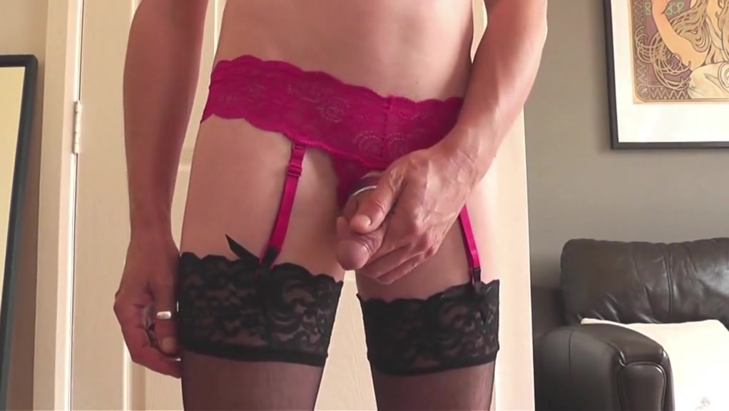 Crotch-less panties posing playing and cum on stockings Kim holland sexy