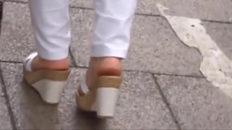 Candid mature soles in wedge sandals
