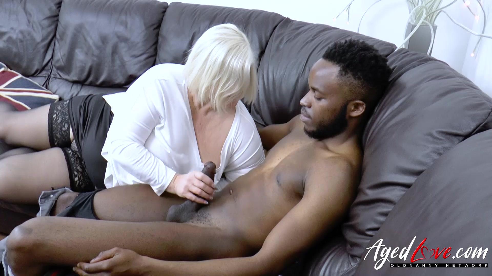 AgedLovE Huge Black Dick and Blonde Mature Chubby Hairy Teen Slut
