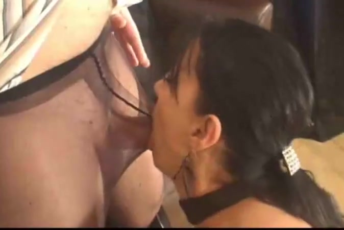 Blowjob and cumshot for nylon cock