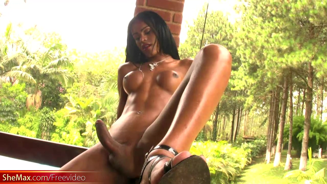 Ebony transgirl with perfect body jerks till messy cumshot Busty milf cherie deville bounces on bbc