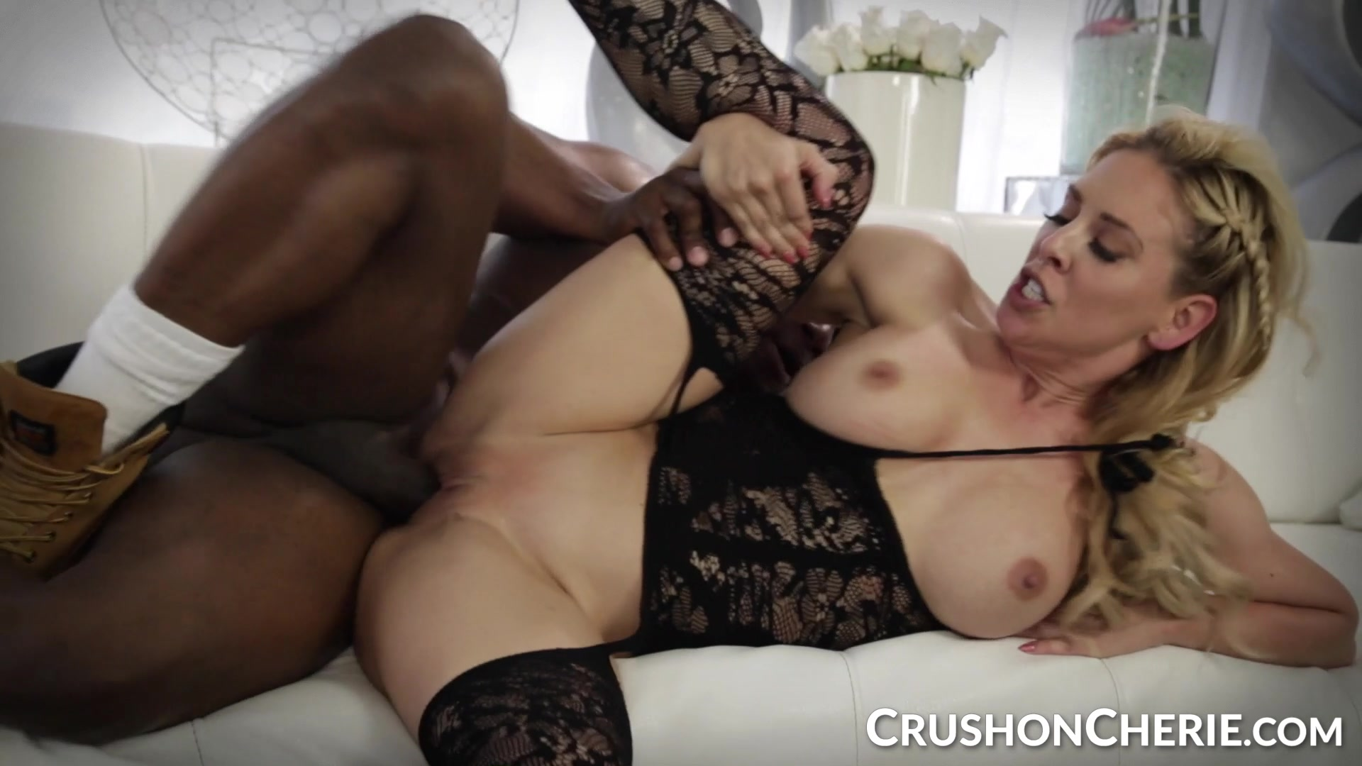 CrushGirls - Cherie Deville sucks and fucks a big black cock www.girl fucks her self solo