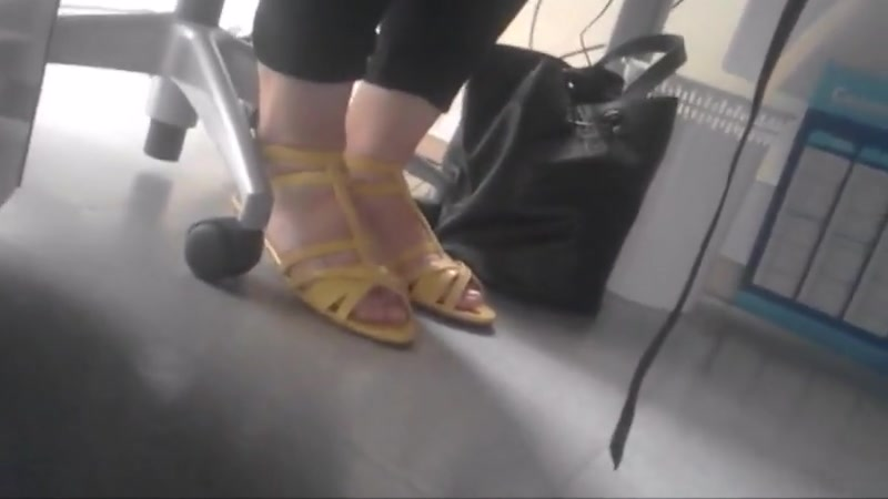 Candid feet under desk of samantha in office part 1