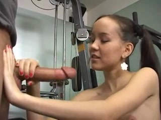 Amai in the Gym - Training on Cock Redhead boys wanking