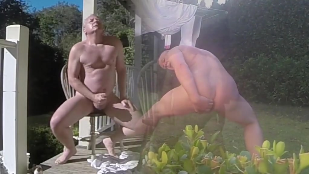 On the verandah having fun with myself Sexy babes squatting naked
