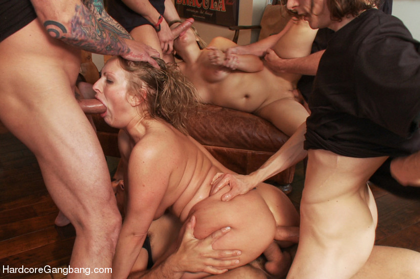 Slutty Step-Sisters Get Gangbanged By 8 Men - HardcoreGangbang My wilf with blonde slut girl