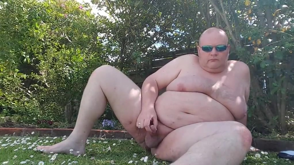 Fat man has more fun in the garden nipple sucking and licking