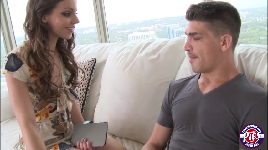 Teen Hannah cowgirl sex on the couch