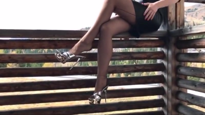 Stockings and platform mules