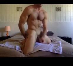 Muscle hunk Blonde Woman Brown Man