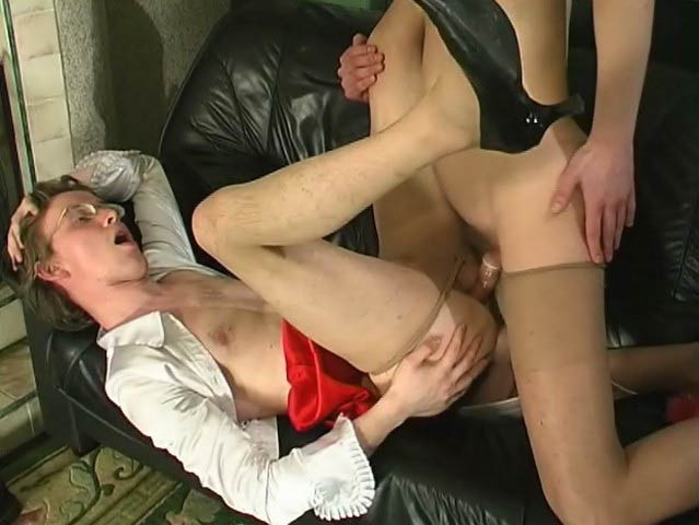 TryPantyhose Movie: Tobias B and Morgan B amature taking it in ass