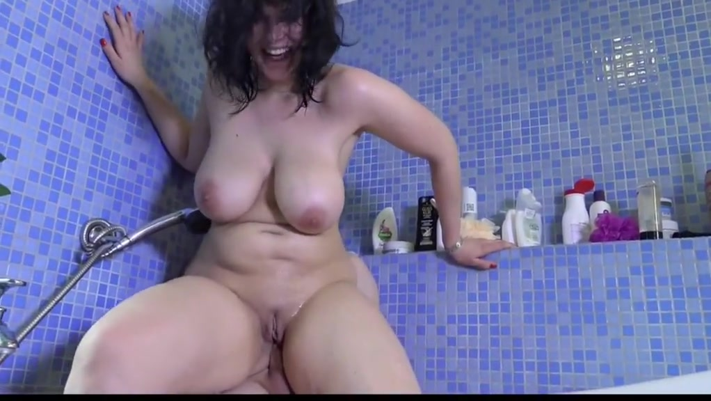 Busty mature anal and facial in bath room sexy brunette with big tits