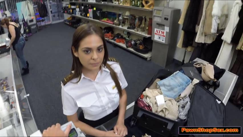 Latina flight attendants gives a blowjob in public for money