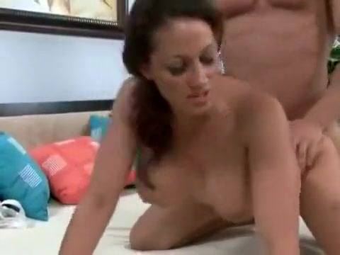 Busty Brunette gets fucked in shaved pussy outside