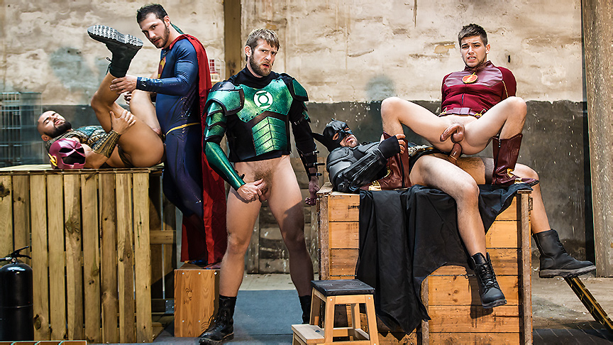 Brandon Cody Colby Keller Francois Sagat Johnny Rapid Ryan Bones in Justice League : A Gay XXX Parody Part 4 - SuperGayHero Milffox com
