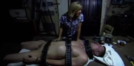 Dominant woman rides her tied up catch