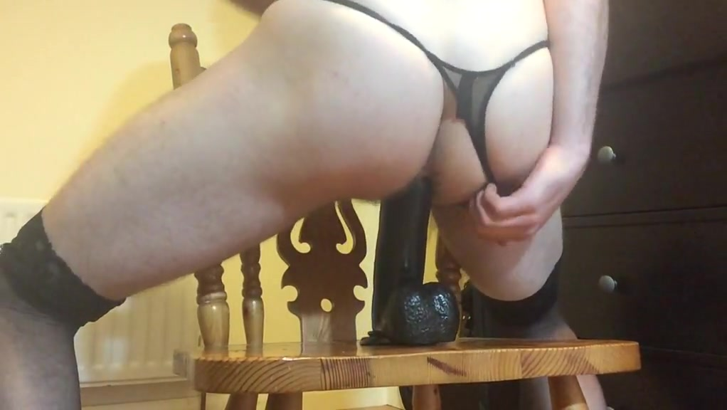 Sissy boy rides bbc dildo Free lovely sex video