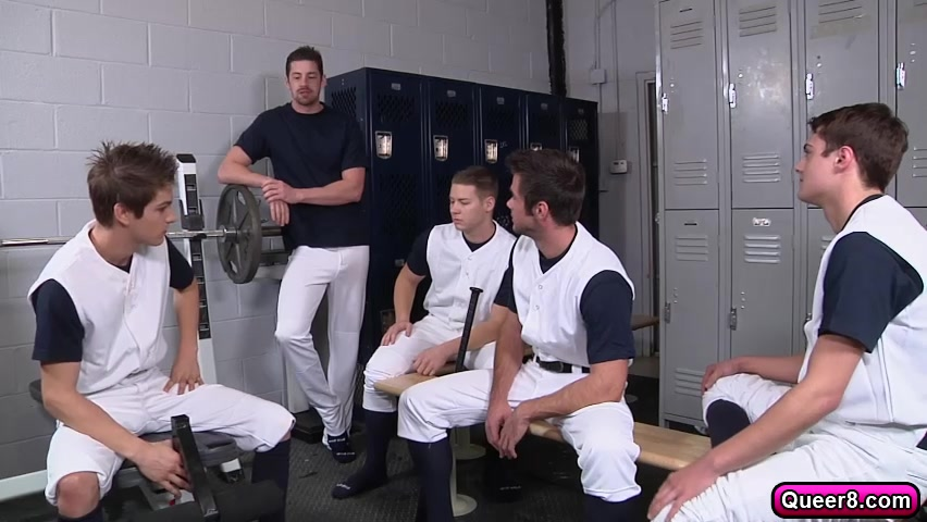 Amazing gay orgy with five cock craving gays in locker room obama big ass ears