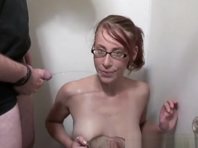 Nerdy redhead sucks dick, gets toyed and gets piss all over her