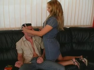 blonde with hot tits sucks and fucks a cock Give oral sex to female