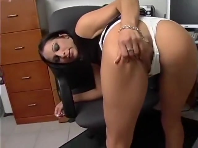 Sensual brunette with big boobs Leah fulfills her office fantasies with a black guy