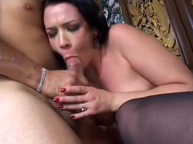 Sexy brunette in black stockings gives a nice blowjob and enjoys a deep pounding