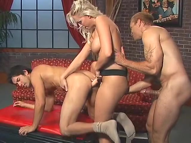 Blonde takes charge of a pair of bisexual dudes at the same time