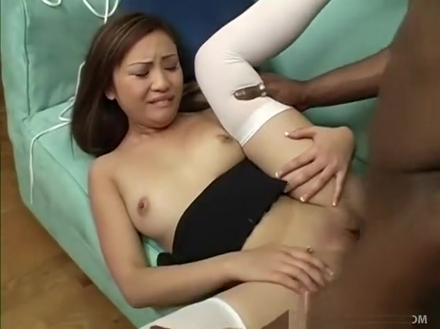 A sweet Asian babe gets her shaven pussy plundered by a black snake Sexy nangi girl