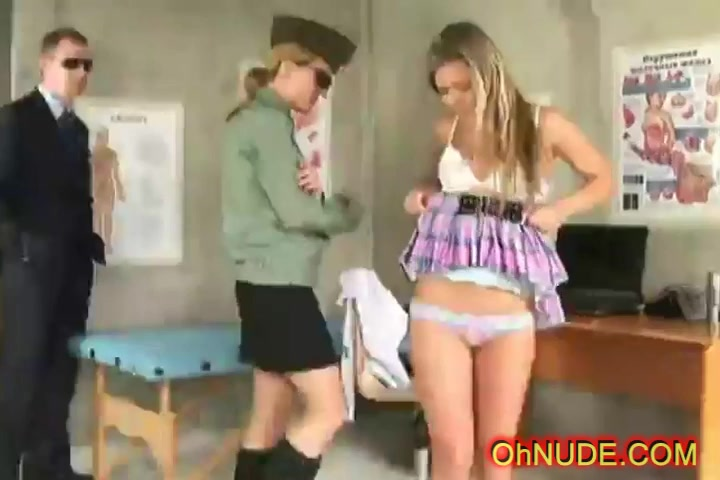 tight young perky blonde strip searched Asian lubricant strip
