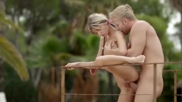Beautiful Fucking Slim Girl on the Terrace Corey squirts when she's choked