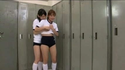 RYOUKO and MIKA lesbian kiss in the locker-room girl tied up and fucked porn