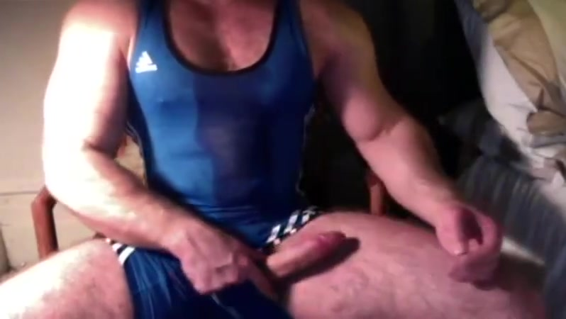 Hairy big dick muscle in wrestling singlet jerk off cum Happy Orgasm Video