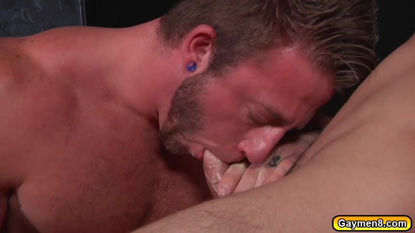 Blondie was getting his dick suck and anal fuck by a Mascular Gay Thick ebony creampie