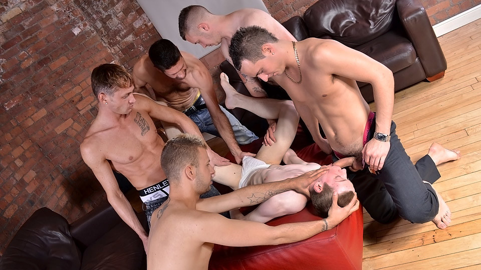 Twink For Sale To The Highest Bidder - James Lewis Luke Desmond Orgy - TXXXMStudios Orgasm while climbing rope male