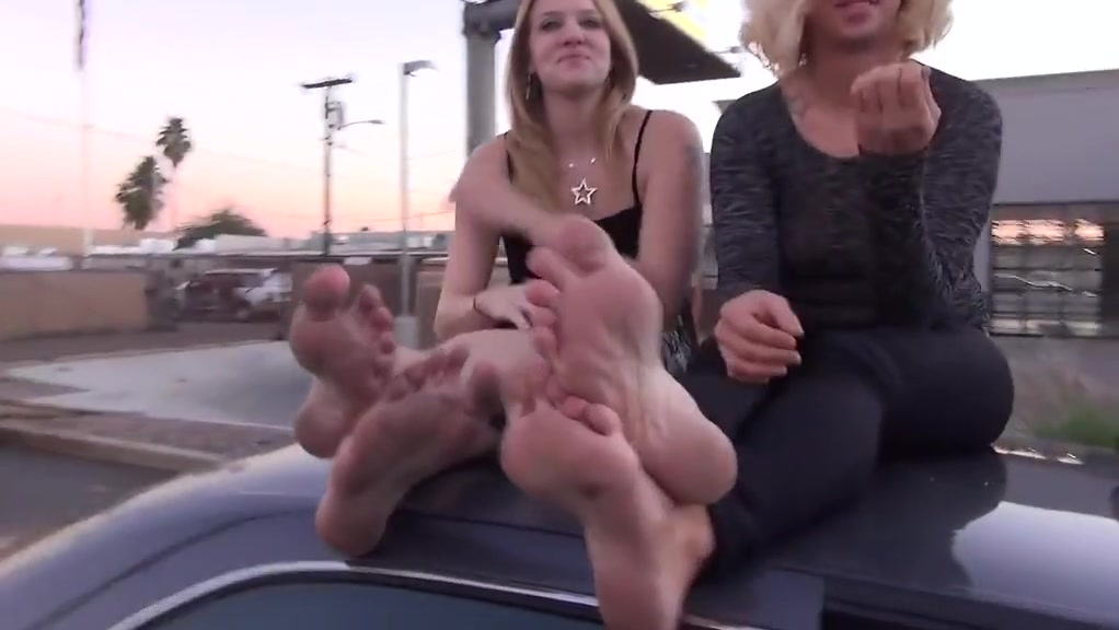 Lucky guy and two girls feet