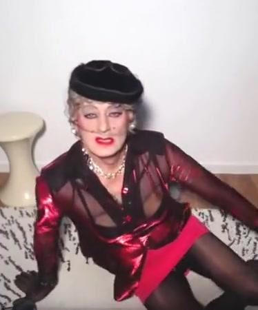 Sexyputa trying black nylon seamed stockings