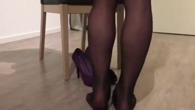 Black pantyhose Leather skirt and high heels tease naughty unm girls fuck