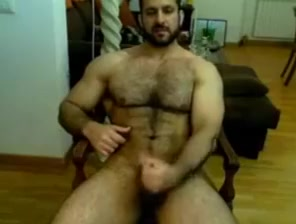 Iranian muscle bear beats his meat Milf in stockings and heels