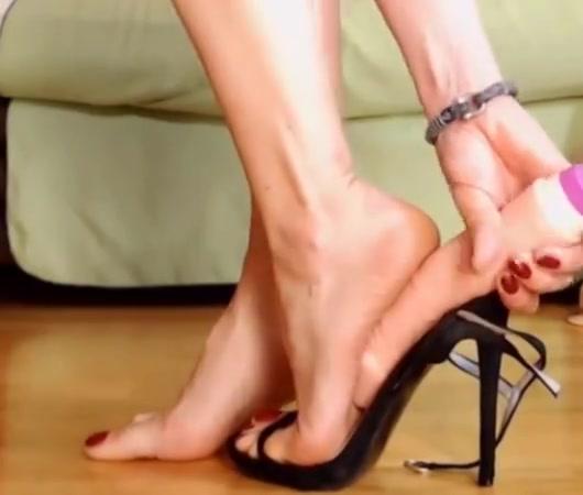 Black sandals + dildo + orange crush feet show