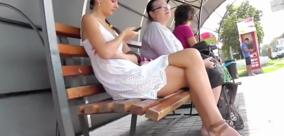 Upskirt White Dress Sexy Tight Thong Flirtation signs