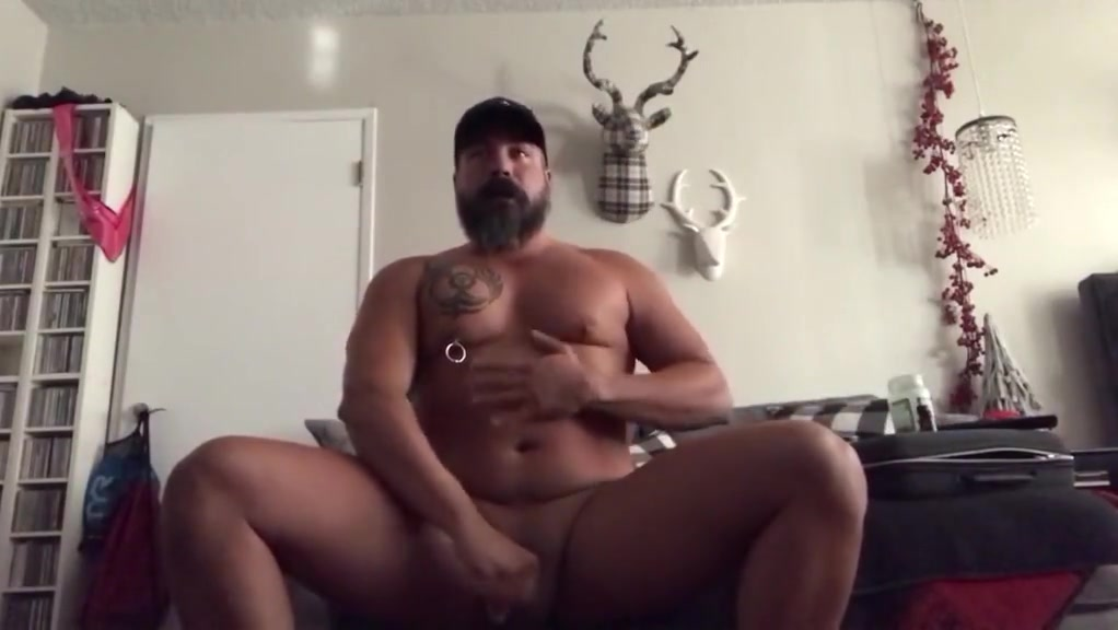 Pierced Popper Daddy Jerks Off Plays with His Cum Wife outdoor naked