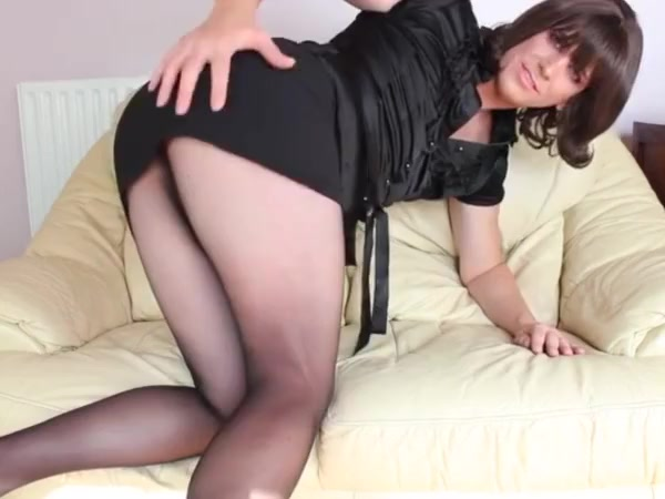 Sexy crossdresser teasing in nylons