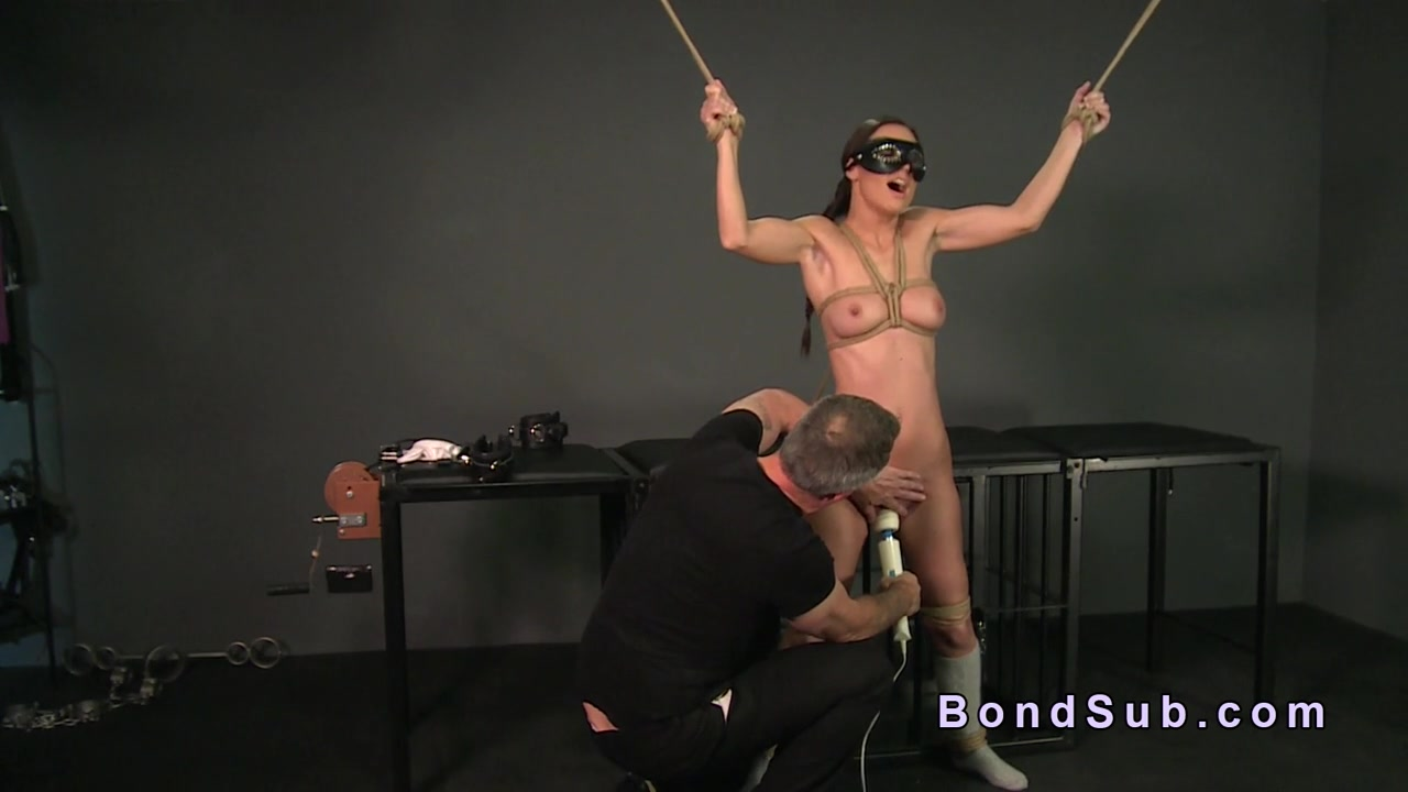 Tied up beautiful sub gets deep throat fucked