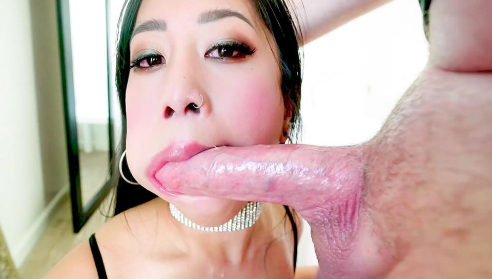 Jade Kush in BJ Spit, Cum In Asian Jades Cleavage - EvilAngel