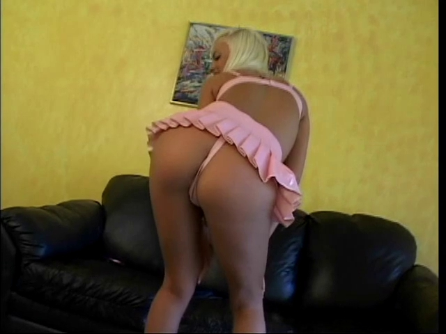 Virginal golden-haired has cute pink outfit to undress out of
