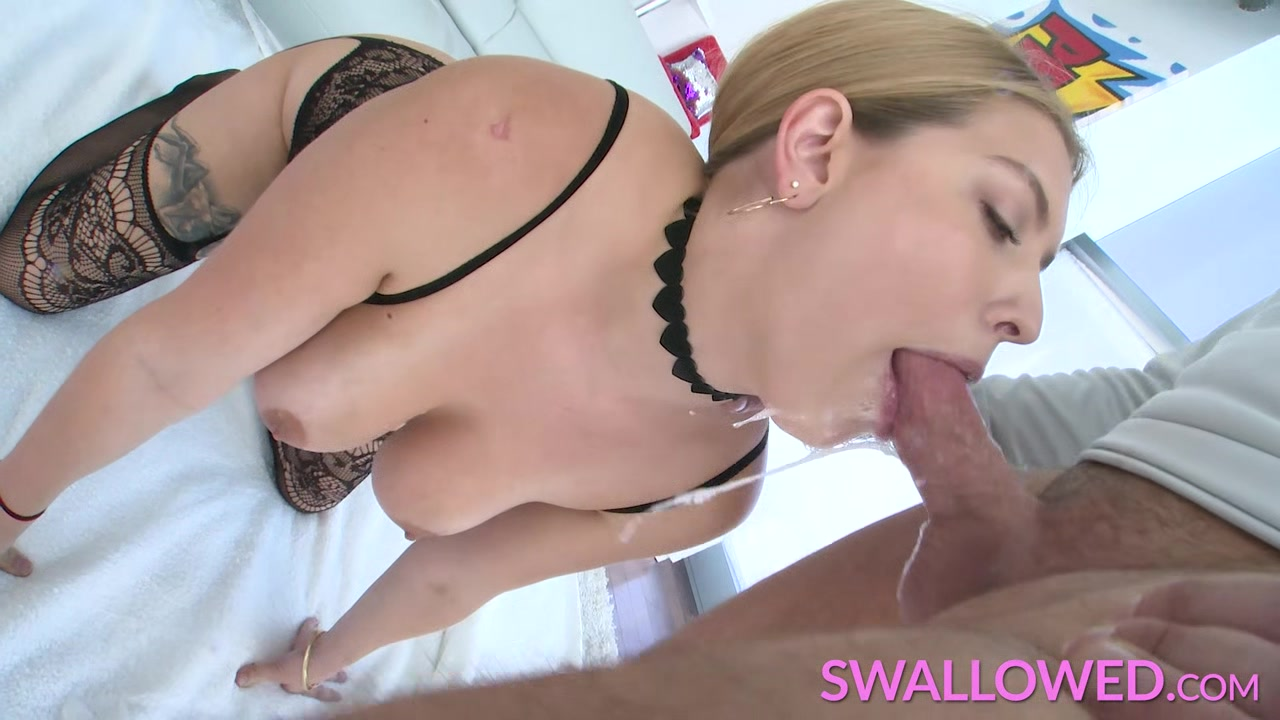 Busty Giselle Palmer swallows his cock right ear pain mouth pain and headache