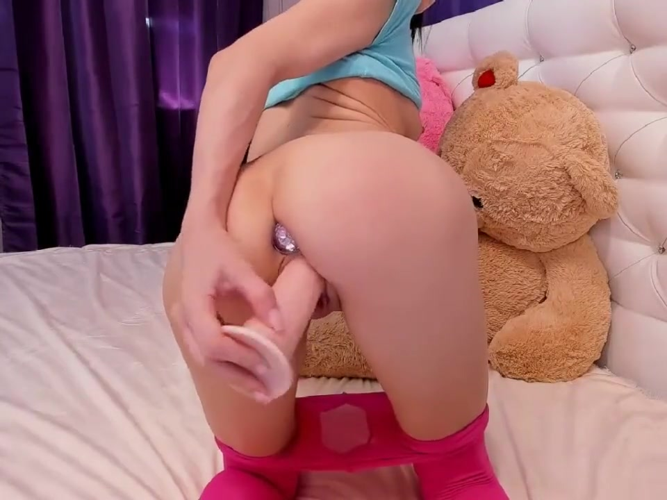 Cute tiny brunette butt plug pink pantyhose
